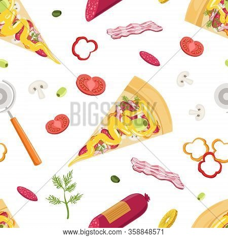 Cooking Pizza Design Element Can Be Used For Website, Cooking Book, Restaurant Menu, Wrapping Paper