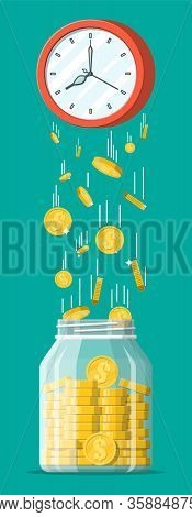 Glass Money Jar, Gold Coins Falling From Clocks. Saving Dollar Coin In Moneybox. Growth, Income, Sav