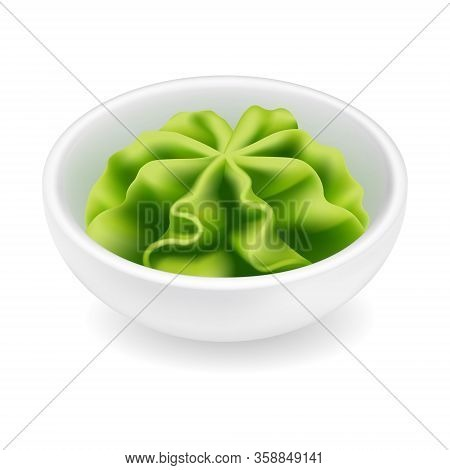 Wasabi Sauce In A Bowl. Realistic Vector Icon Isolated On White Background. Japanese Sushi Condiment