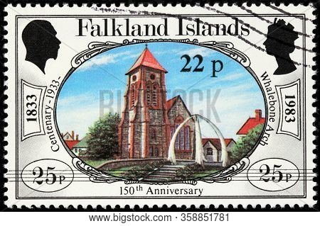 Luga, Russia - October 20, 2019: A Stamp Printed By Falkland Islands Shows View Of Whalebone Arch, C