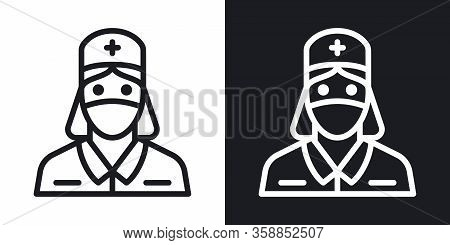 Nurse, Doctor Or Medical Staff Icon. Young Woman In Medical Mask And Medical Gown. Simple Two-tone V