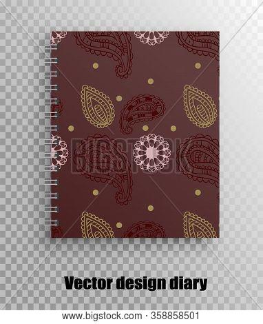 Stylish Design Print Of A Notebook Cover - Oriental Print Pattern, Mehendi Mandala