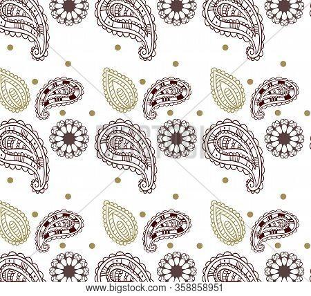 Stylish Oriental Vector Mandala Pattern On Isolated White Background. Mehendi, Mandala Decorative Et