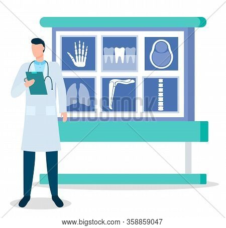 Doctor And X-rays, Traumatologist And Bones Photos Vector. Medicine And Healthcare, Hand And Teeth,