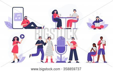 Podcasters And Listeners With Headphones, Radio Hosts Recording Podcasts. Men And Women With Smartph