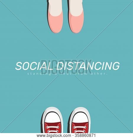 Social Distance. Two People Keep Spaced Between Each Other For Social Distancing, Increasing The Phy