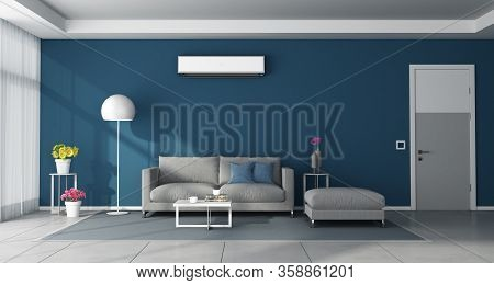 Modern Blue Living Room With Gray Furniture,closed Door And Air Conditioner On Wall - 3d Rendering
