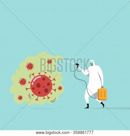 Medical Worker With Full Of Personal Protection Equipment Getting Rid Of Coronavirus Germs By Sprayi