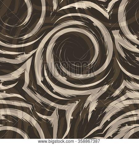 Vector Seamless Pattern Of Spirals And Curls. Abstract Beige Texture For Fabrics Or Wrapping Paper O