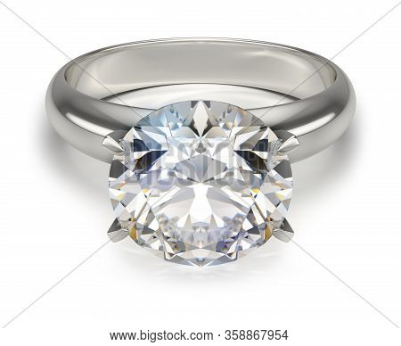 Ring With A Diamond. 3d Generated Image. White Background.