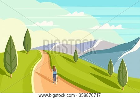 Beautiful Woman Is Walking Along A Mountain Ridge. Flat Style Summer Landscape. Concept Image Of Man