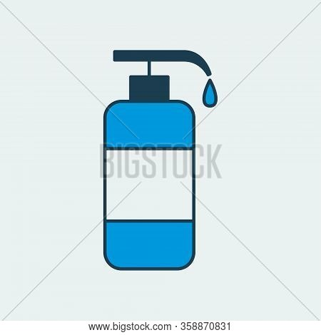 Vector Icon Of A Tank With Cleaning Agent For Disinfecting Surfaces. Illustration Of A Bottle With H