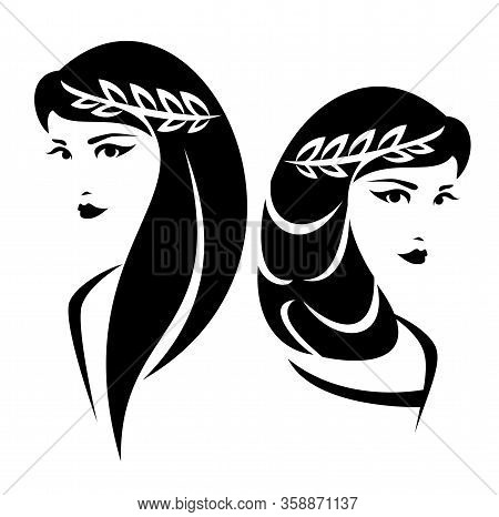 Beautiful Goddess Woman With Laurel Wreath Black And White Vector Portrait