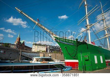 HAMBURG, GERMANY - JULY 24, 2018: Street view of Cruise ship in the harbor, Hamburg, Germany.