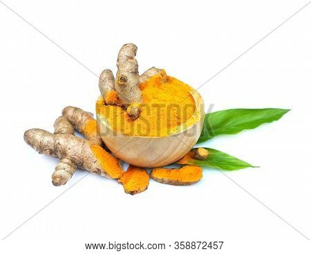 Turmeric Powder And Turmeric Root Isolated On White Background ,turmeric Is Herb,turmeric Vitamin C,