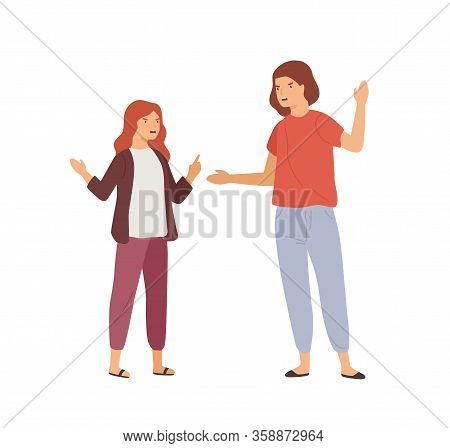Irritated Mother And Daughter Gesturing And Scream Each Other Vector Flat Illustration. Cartoon Girl