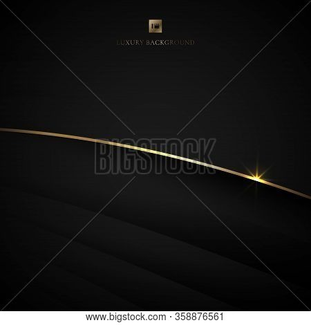 Abstract Black Stripe Layer Curved And Gold Bend Line With Lighting Effect On Dark Background. Luxur