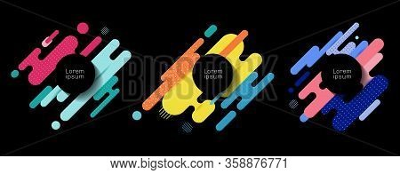 Set Of Colorful Rounded Lines Shapes Diagonal Rhythm Dynamic Composition With Black Space Circle Lab