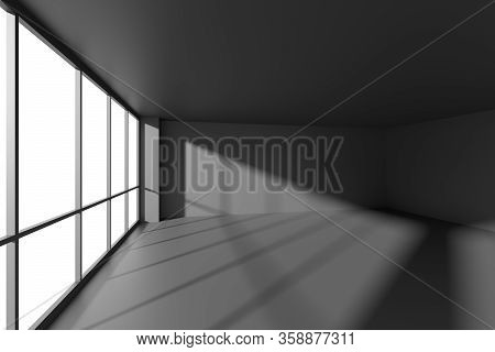 Empty Black Business Office Room With Black Floor, Ceiling And Walls And Sun Light From Large Window