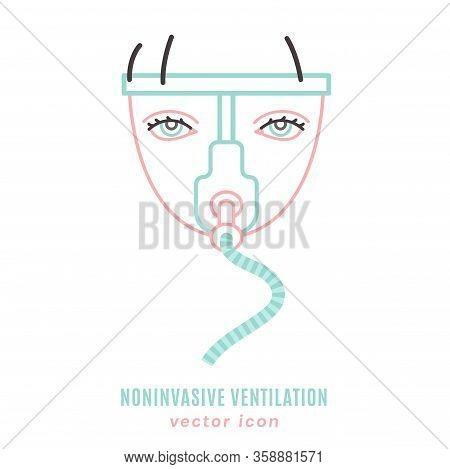 Noninvasive Lung Ventilation Icon. Breathing Medical Respiratory Mask. Pulmonary Procedure Pictogram