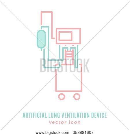 Mechanical Lung Ventilation Machine Icon. Pulmonary Procedure Pictogram. Acute Respiratory Distress