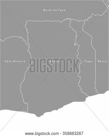Vector Illustration In Grey Color. Simplified Political Map With Ghana In The Center And Border With