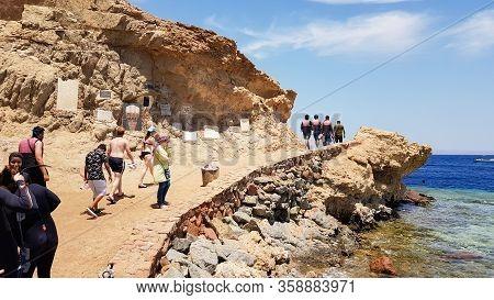 Egypt, Dahab - October 17, 2019: The Blue Hole Is A Popular Diving Spot In East Sinai. Sunny Beach R