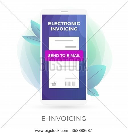 Electronic Invoice, Digital Bill Flat Vector Icon Illustration Concept. Online Bank, Internet Online