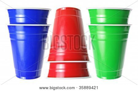 Stacks Of Plastic Cups
