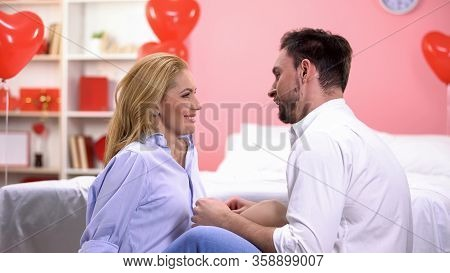 Passionate Couple Having Foreplay, Man Tenderly Stroking Lady, Temptation