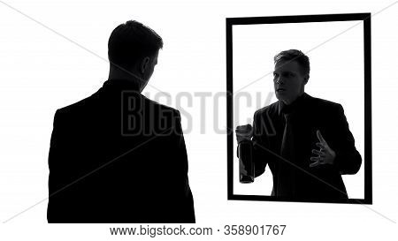 Angry Male Reflection Holding Wine Bottle, Conscience Aggression, Nightmares
