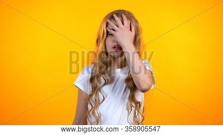 Exhausted Girl Making Facepalm Gesture, Feeling Lack Of Energy, Avitaminosis