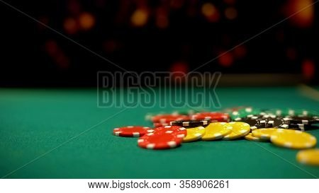 Poker Chips Lying On Green Table, Poker And Blackjack Casino Games, Betting
