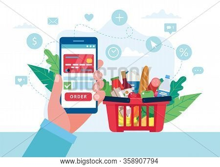 Order Grocery Online. Order With Smartphone And Pay With Credit Card. Cart With Different Groceries.
