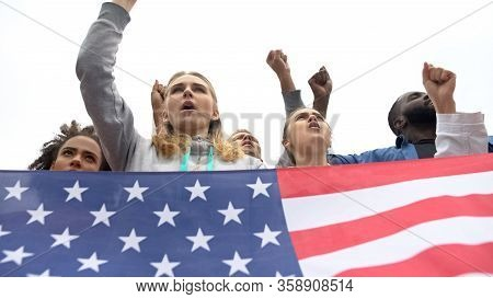 Active Citizens Holding Usa Flag And Chanting Slogans, Protest Or Rebellion
