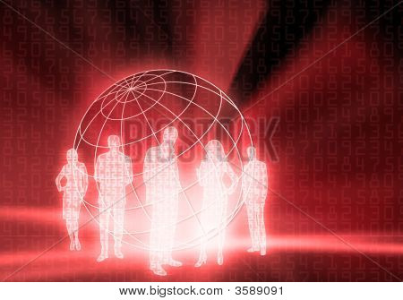 Red Internet Business People
