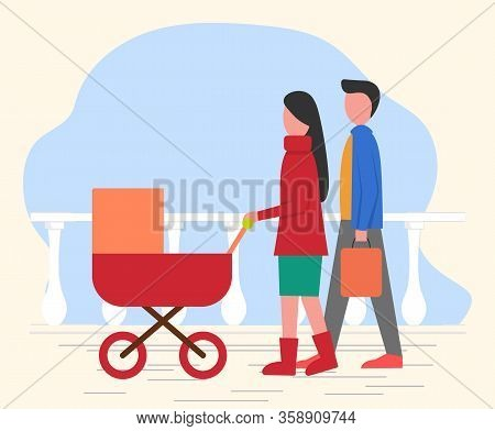 Mother And Father With Child In Baby Pram Have Walk In Park. Parent Roll Pram With Newborn Inside, S