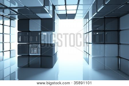An abstract interior (box of different materials)