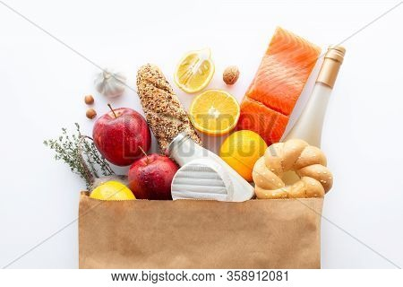 Full Paper Bag Of Various Healthy Food.healthy Food Background.healthy Food In Fruits And Vegetables