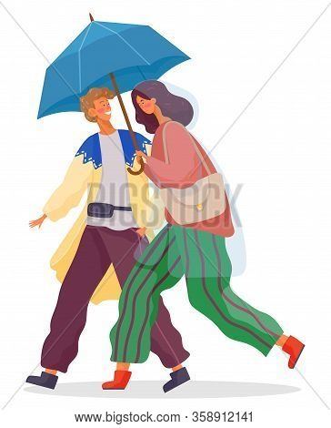 Young Woman And Man Walking Together Under Rain. People Dressed In Pants And Cardigan. Person In Wat