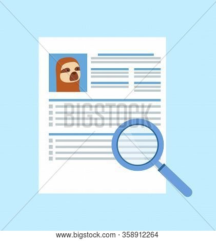 Hipster Animal Sloth Resume Vector, Cv Of Candidate With Picture And Text, Magnifying Glass Zooming