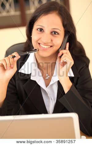 Young Business Woman Talking On Cellphone