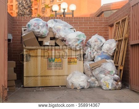Scottsdale,Az,USA/ 8.18.19:  Waste Management Inc - American waste management, & environmental services company in N. America, founded in 1968, the company is headquartered in Houston, Tx  - Container