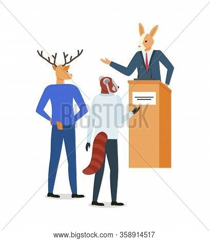 Hipster Animal Kangaroo Speaker Vector, Isolated Deer Wearing Suit, Business Colleagues Asking Quest