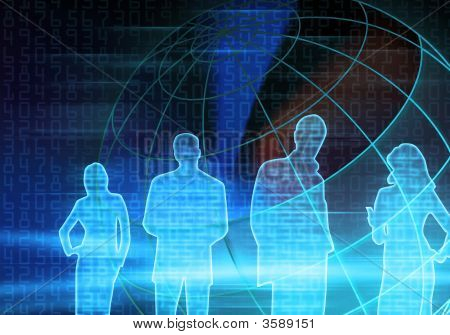 Blue Binary Code Business People