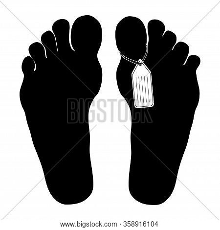 Legs Are Marked By Death. The Corpse In The Morgue. Flat Vector Illustration Isolated On White Backg