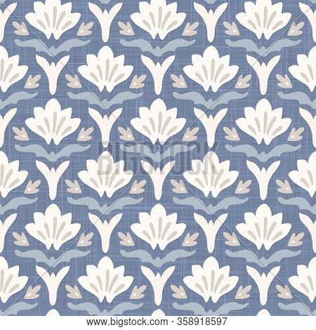 French Blu Shabby Chic Damask Vector Texture Background. Antique White Blue Heart Seamless Pattern.