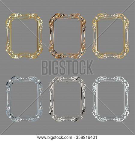 Set Of Decorative Frames And Borders Standard Rectangle Proportions Backgrounds Vintage Design Eleme