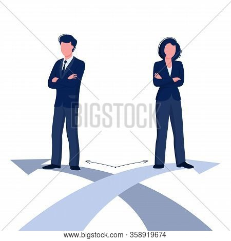 Gender Difference Concept. Woman And Man Business Corporate Difference. Vector