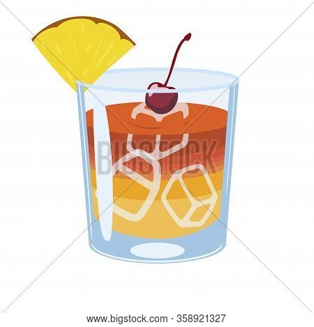 Mai Tai Cocktail Isolate On White Background. Vector Image.